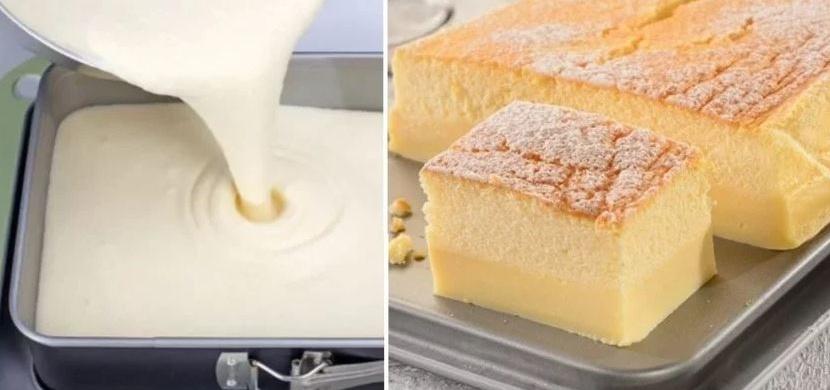 Dvouvrstvý koláč z jednoho těsta, který se v troubě rozdělí sám
